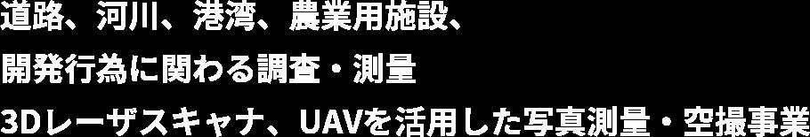 道路、河川、港湾、農業用施設、開発行為に関わる調査・測量、3Dレーザスキャナ、UAVを活用した写真測量・空撮事業